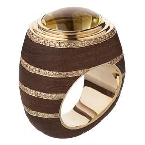 Кольцо из золота и мадагаскарского эбенового дерева с цитрином и бриллиантами