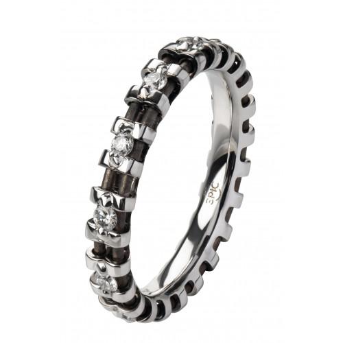 Кольцо из белого золота и анодированного титана с бриллиантами