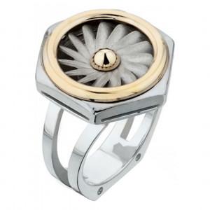 """Кольцо """"Турбина"""" из желтого золота и серебра"""